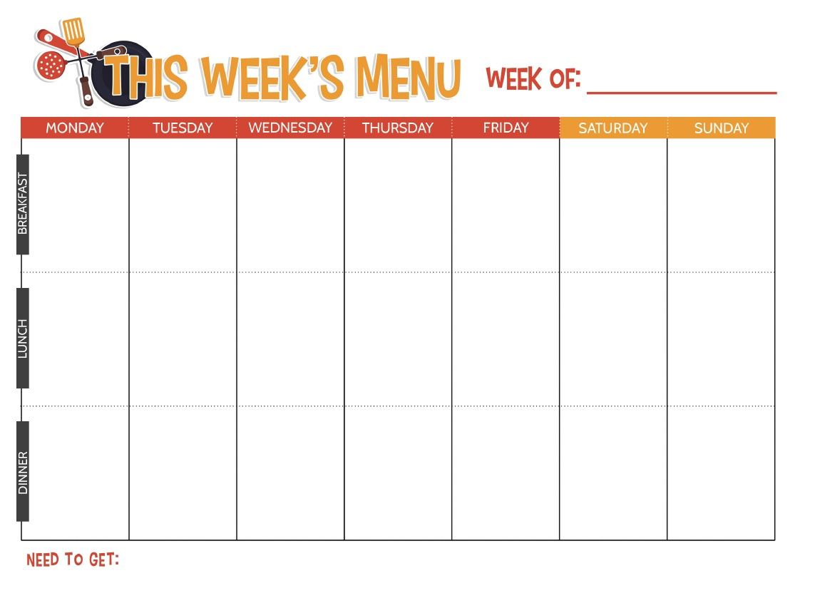 Free printable weekly meal planner not quite susie for Free weekly meal planner template