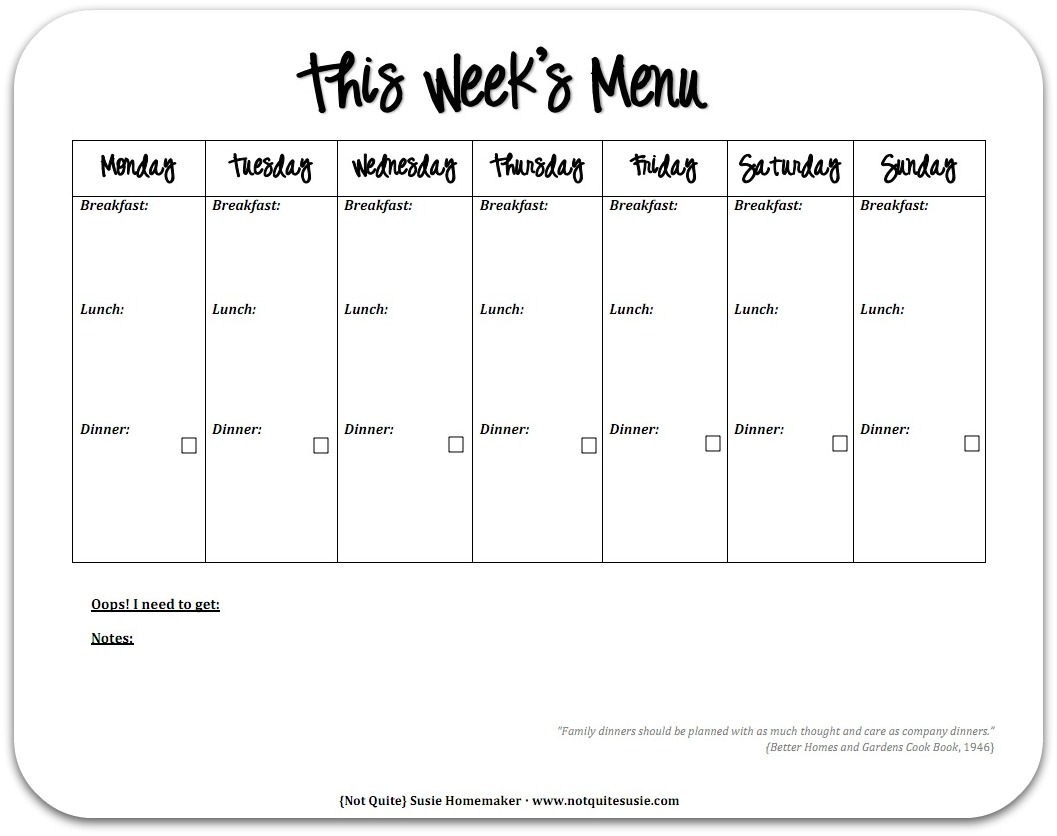 Free Printable Weekly Meal Planner Not Quite Susie Homemaker – Meal Calendar