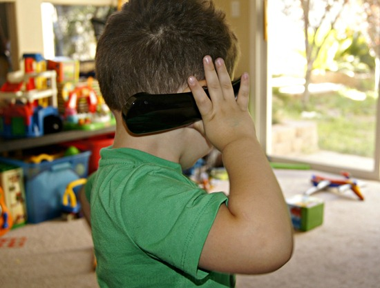 Toddler Using Good Call Handset