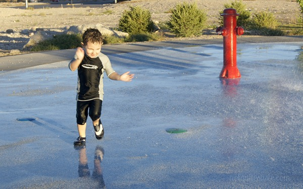 Running in the splash pad
