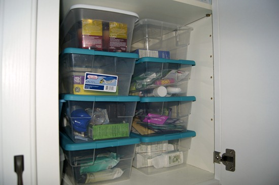 clear shoeboxes as storage