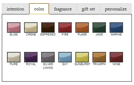 personalized candle color options