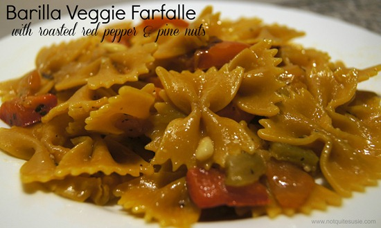 Veggie Farfalle with Roasted Red Pepper and Pine Nuts