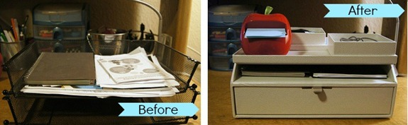 before and after martha stewart desk organizer