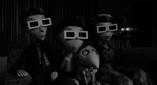 """FRANKENWEENIE""  (L-R) Mr. FRANKENSTEIN, VICTOR, SPARKY and Mrs. FRANKENSTEIN. ©2012 Disney Enterprises. All Rights Reserved."