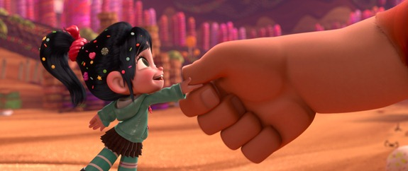 &quot;WRECK-IT RALPH&quot; (L-R) VANELLOPE VON SCHWEETZ (voice of Sarah Silverman) and RALPH (voice of John C. Reilly) in the video game world of Sugar Rush. 2012 Disney. All Rights Reserved.
