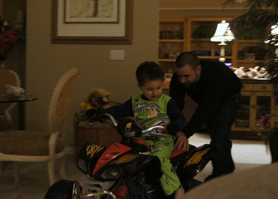 Shane and Daddy riding Kawasaki