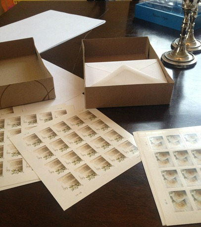 stamping and addressing wedding invitations