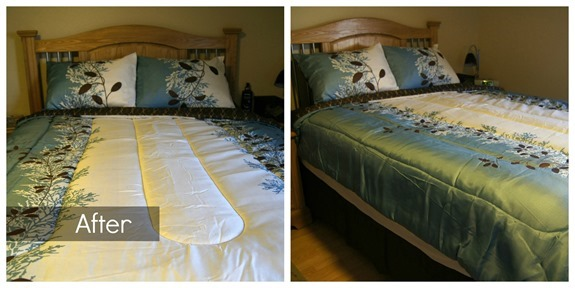 Blue, white and brown bedding set