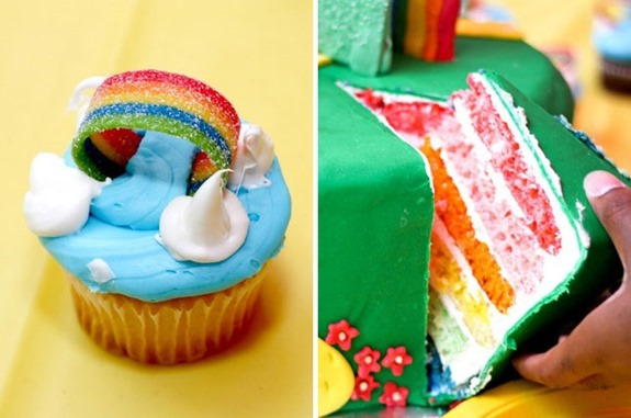 Somewhere Over the Rainbow Cupcake and Rainbow Cake- Ultimate Oz Party