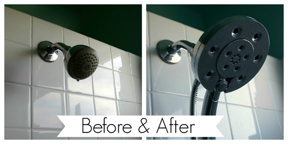 Before & After Installing a New Showerhead