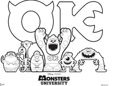 Monsters University Coloring Sheet
