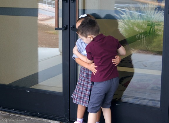 Shane and Lilly hugging first day of school