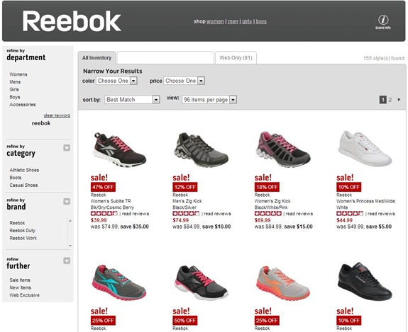 online results for reebok