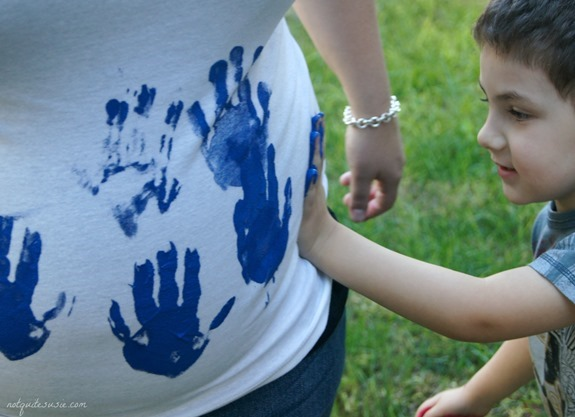 Gender Reveal Handprint Painting