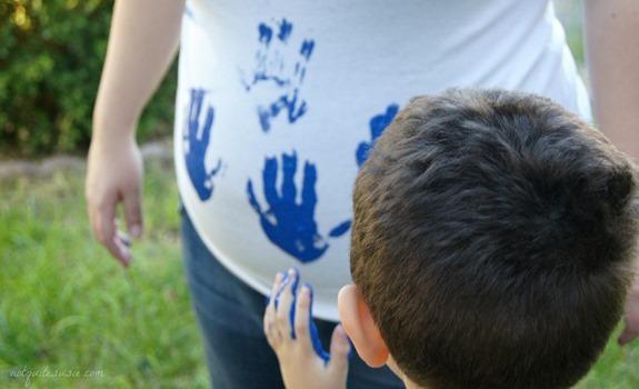 Gender reveal handprints