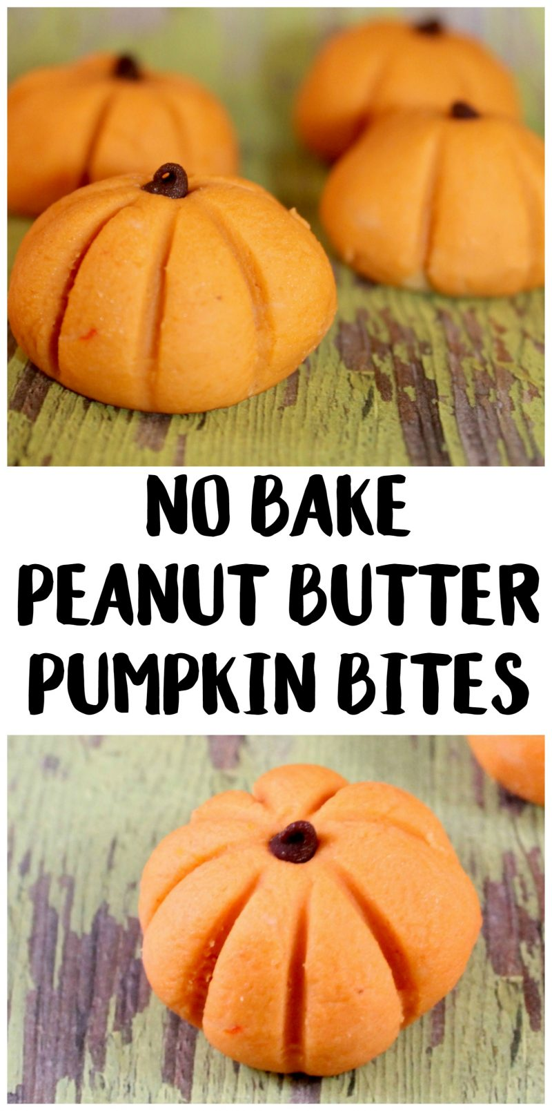 PicMonkey ImageNo Bake Peanut Butter Pumpkin Bites- an easy Halloween recipe!