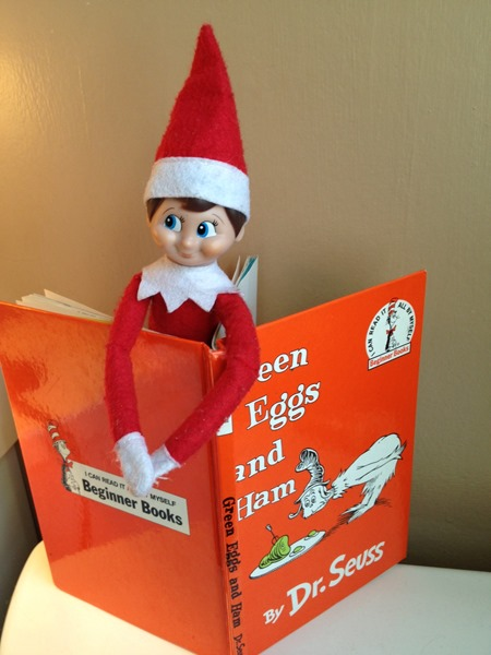 Elf on the Shelf reading a favorite book!