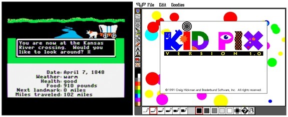 oregon trail and kidpix 90's computer games