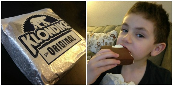 Shane eating Klondike bar