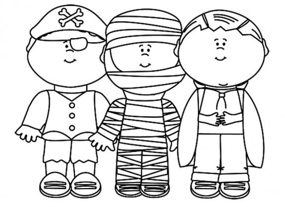 Free Trick or Treating Printable Coloring Page for Halloween