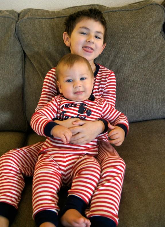 Shane and Zac in OshKosh jammies