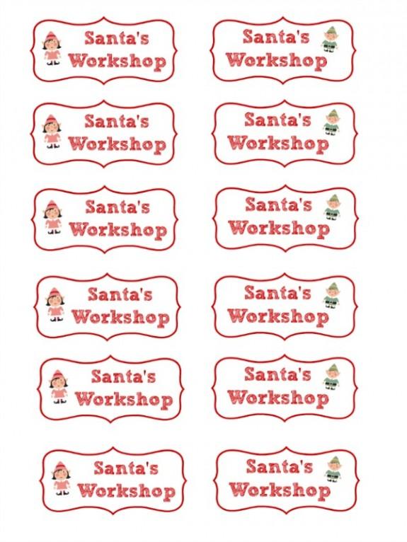 Free Printable Santa's Workshop Cupcake Toppers