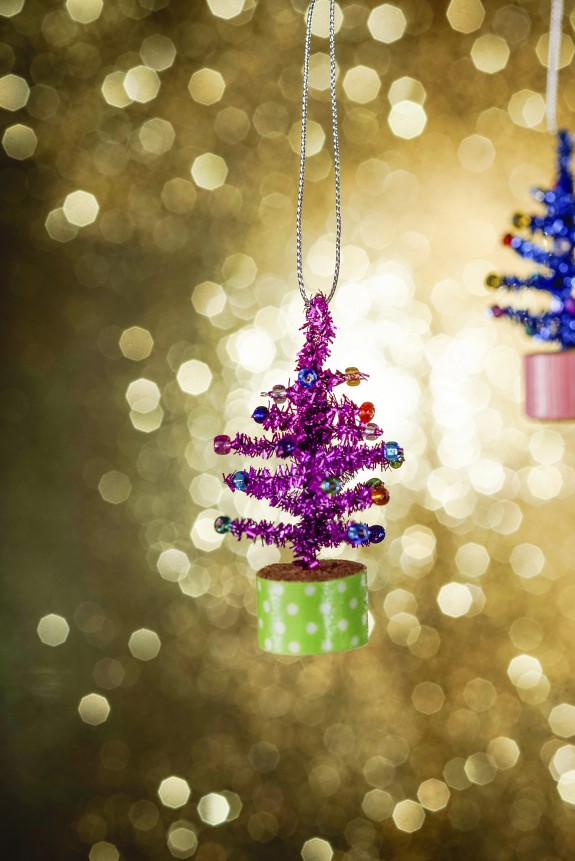Tiny Tinsel Tree DIY Christmas Ornament Craft for Kids