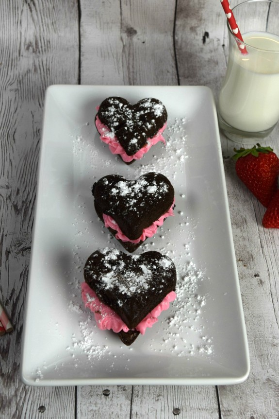 Homemade Brownies with Strawberry Frosting for Valentine's Day! A great weekend activity to get your kids in the kitchen- or a nice surprise for an after-school treat