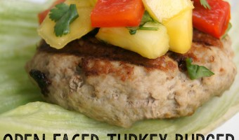 Open Faced Turkey Burger with Pineapple Mango Salsa Recipe