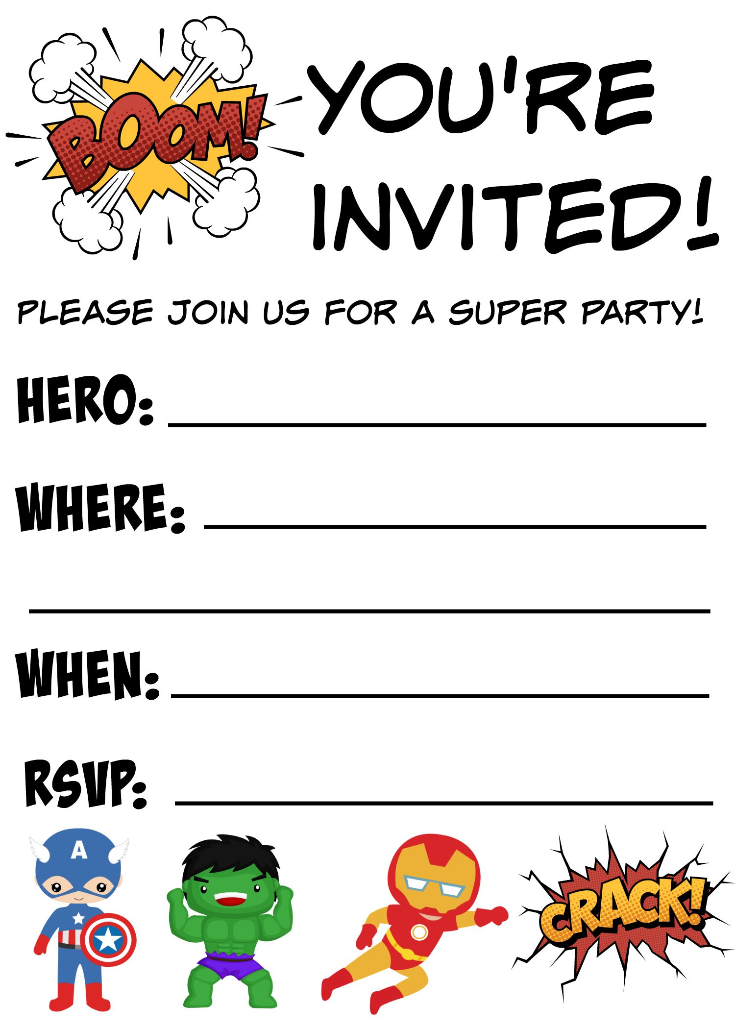 Genius image with free printable super hero invitations