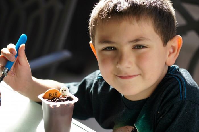 Shane eating pudding
