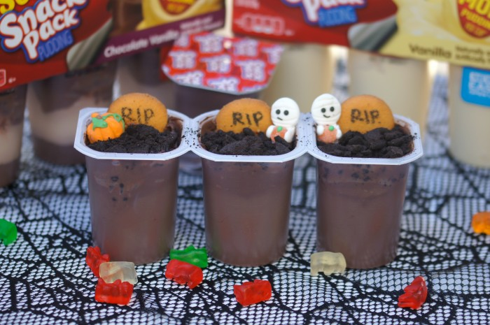 Spooky Graveyard Pudding Cups with Super Snack Pack Pudding