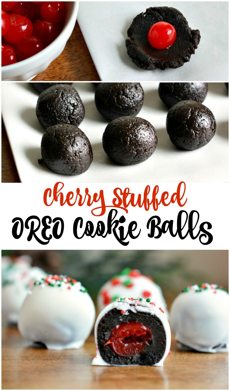 Cherry Stuffed OREO Cookie Balls Recipe-- No bake and a great holiday recipe. Great for Christmas Cookie exchanges!