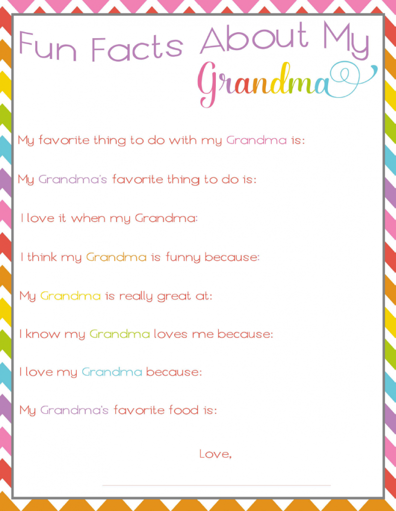 Fun Facts About Grandma Printable For Mother S Day Not