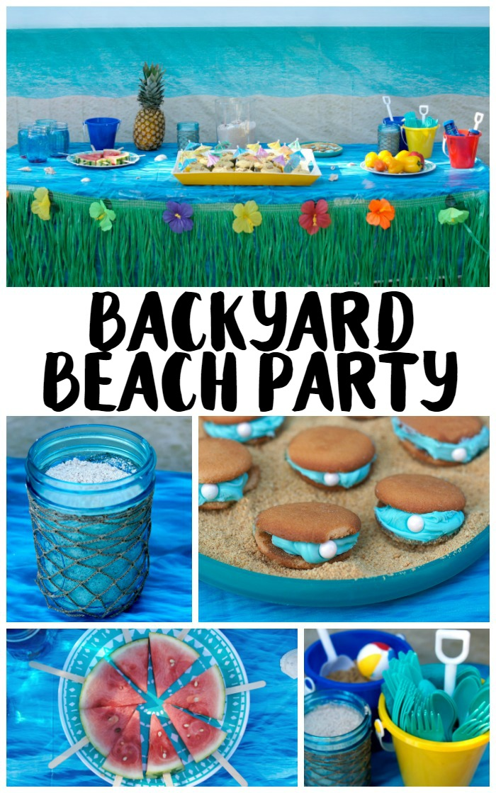 Need ideas for your Backyard Beach Theme Party? Whether you're having a Hawaiian Luau birthday party or just celebrating summer with the kids, we've got you covered! From the mason jar decorations to the DIY beach ball Frisbee game to the beach cupcakes, we're sharing all kinds of food, games, and décor ideas to make your party fun in the sun!