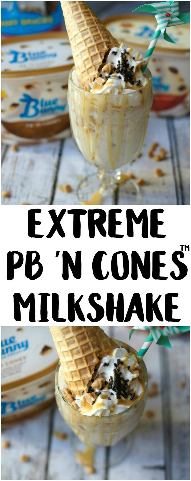 Have you ever had an extreme milkshake? They are popping up in restaurants around the world and each one of the ideas is more crazy than the next! Now you can DIY one at home, whether for parties or just desserts! This Extreme PB 'N Cones Milkshake recipe is filled with peanut buttery goodness, a touch of chocolate sweets, and a real ice cream cone on top!