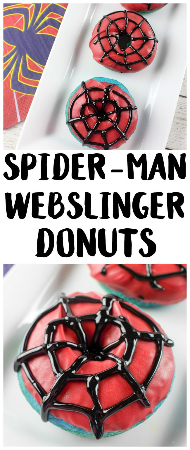 Have you seen the trailer for the new movie Spider-Man: Homecoming? It looks really good- and so funny! These DIY homemade Webslinger Donuts use cake mix and they're baked, not fried, so they're really easy to make. With the super cute Spider-Man icing, they would be the perfect breakfast recipe for after a birthday party sleepover or really any time!