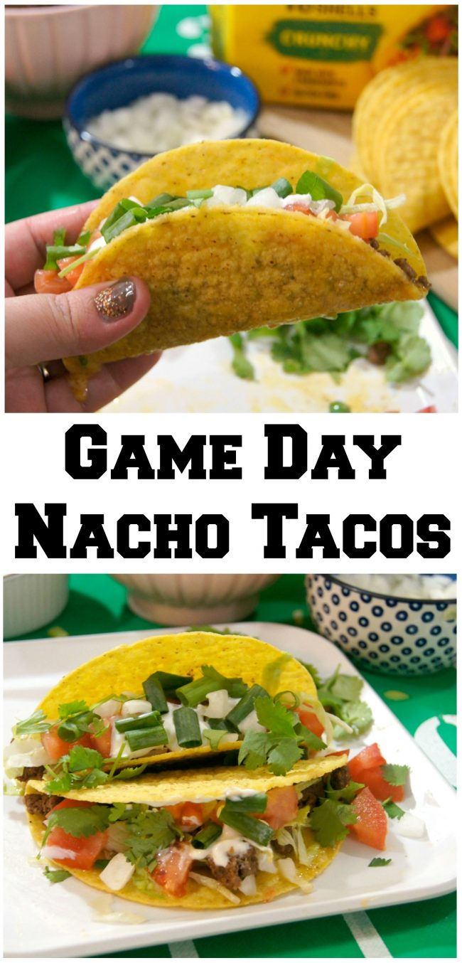 Looking for food recipes and ideas for your next Sunday Football tailgate party? These Game Day Nacho Tacos use ground beef with lots of delicious seasoning and homemade cheese sauce- and of course, they're loaded with toppings!