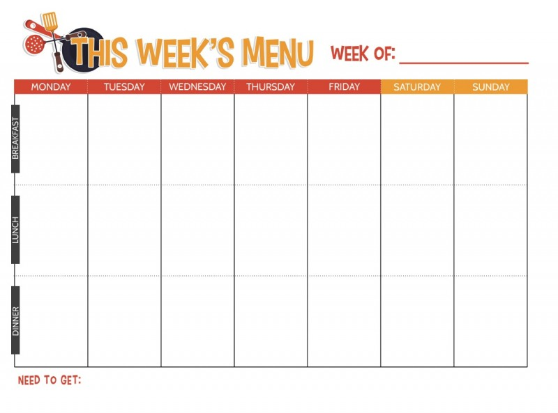 This is a graphic of Free Printable Weekly Meal Planner for two week meal
