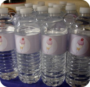 ice cream party, water bottles