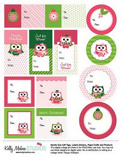 pink green owl holiday gift tags