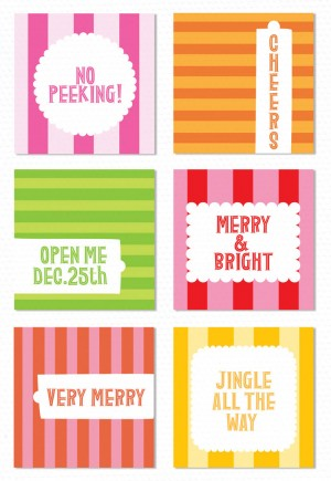 striped holiday gift tags