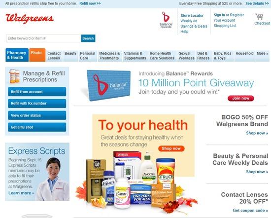 website home screen