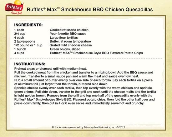 ruffles max bbq chicken quesadillas recipe