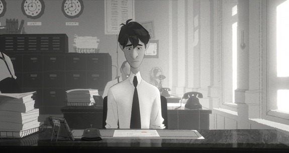 "HEART, IMAGINATION... AND PAPER - A young New Yorker has only his heart, imagination and a stack of papers to get the attention of the girl of his dreams in ""Paperman,"" an innovative short about destiny and the power of second chances. In theaters Nov. 2, 2012, in front of ""Wreck-It Ralph."" ©2012 Disney. All Rights Reserved."
