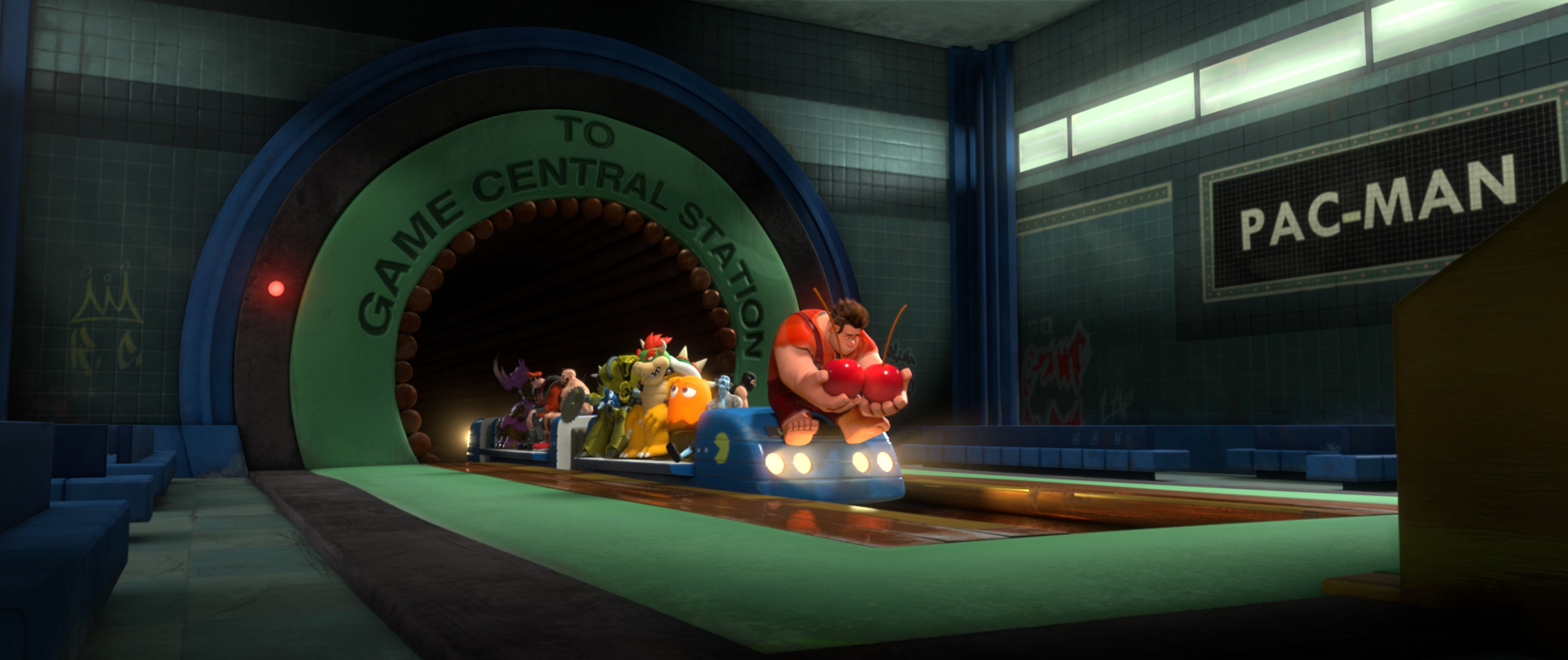 "BAD-GUY BLUES - Wreck-It Ralph and a few fellow arcade-game bad guys head back to their games via Game Central Station following a BadAnon support group meeting where Ralph learns that being a Bad Guy in his game doesn't make him a bad guy. Still, he can't help but wonder what it would be like to be the hero. ""Wreck-It Ralph"" hits theaters Nov. 2, 2012, in Disney Digital 3D™ in select theaters. © 2012 Disney. All Rights Reserved."