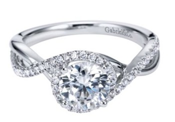 Gabriel & Co. Swirl Engagement Ring