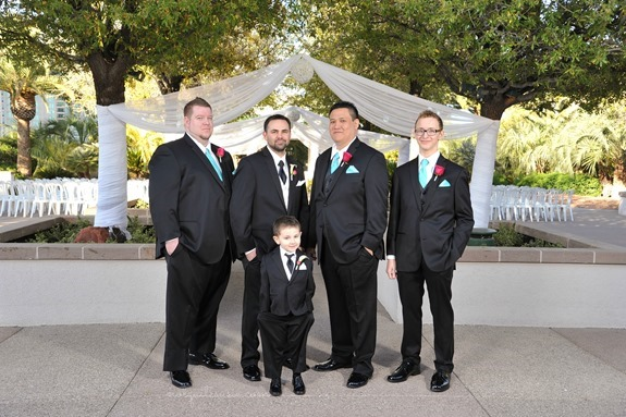 Groomsmen in Pool Blue Ties