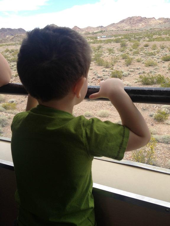 Little boy riding on train